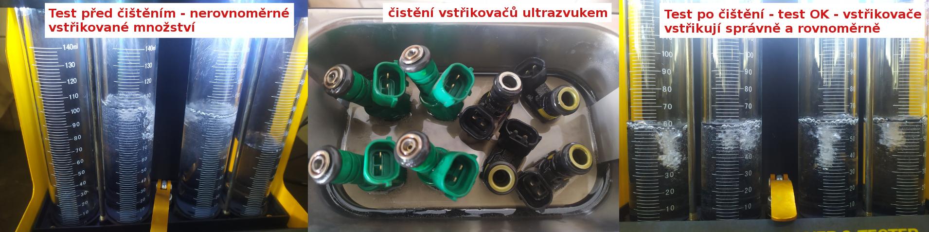 Kontrola a čištění benzínových vstřikovačů ultrazvukem. Ostrava